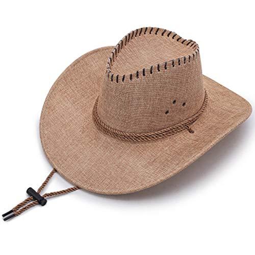 1 Stuk Hoed voor mannen Spring Summer Sun Hat paraplu Lino Western Cowboy Hat-Beige Fashion,H