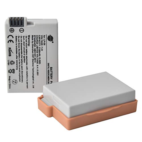 DSTE LP-E8 Batteria di ricambio (2 pacchetti) compatibile per Canon EOS 550D 600D 650D 700D Kiss X4 Kiss X5 Kiss X6i Kiss X7i