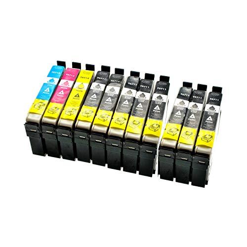 LS 10 cartuchos de tinta para Epson T0711-14 7xbk 1xcmy 7xBlack,14ml 3xColor,14ml ,compatible