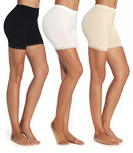 Mcilia Damen Ultradünne Modal Elasthan kurz Leggings 3-Pack Spitzenbesatz Schwarz/Cremeweiß/Beige Größe M (EU 42 44)