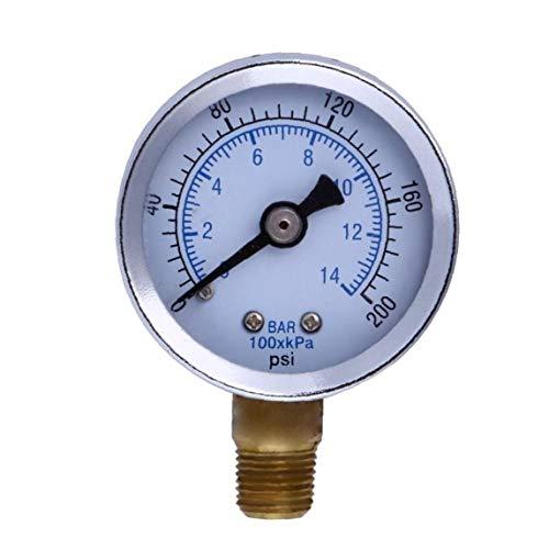 """TOPofly 1/8"""" NPT Manometer Kraftstoff-Luftverdichter Meter Hydraulikdrucktester 200 PSI Manometer Doppelskala Druckmesser Mechanische Einrichtungen"""