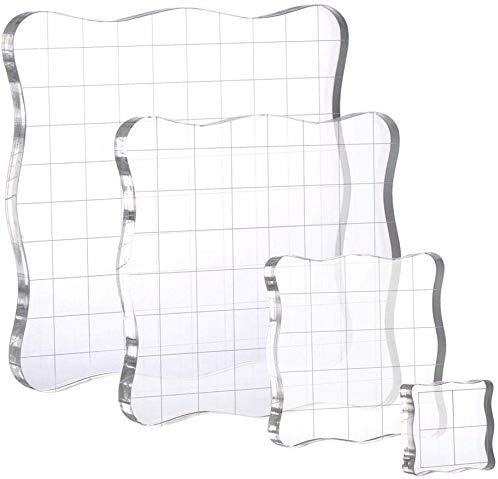 4 in 1 Stempel Block Set Acryl Stempelblock mit Gitterlinien Blöcke für Scrapbooking Handwerk Crafts Making Transparent