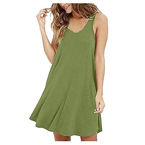 Mini vestido casual corto sin mangas con volantes dobladillo sólido O-Neck Swing sin mangas camiseta suelta Camis vestido