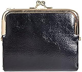 Yansyuiong محفظة جلدية PU صغيرة بمشبك للسيدات حقائب محمولة للأموال أنثى حامل بطاقة السعة المتوقع (اللون: أسود)