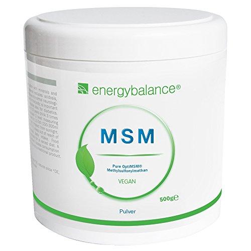 EnergyBalance OptiMSM - 100% reines Pulver, Hochdosiert, Natürlich, Methylsulfonylmethan - ohne Zucker, ohne Zusätze - Qualität aus der Schweiz - 500 g