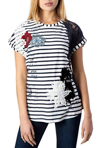 Desigual TS_Refresh Camiseta, Blanco (Blanco 1000), Large para Mujer