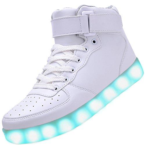 Odema Women Men High Top USB Charging LED Sport Shoes Flashing Sneakers, White, 5 B(M) US