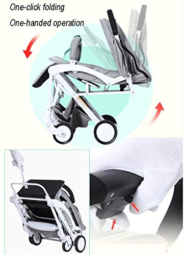 LAMTON Baby Stroller for Newborn, Stroller, Lightweight Pushchair Compact Buggy Foldable Suitable for Airplane,49x71x104cm (Color : Gray) LAMTON Adjustable handlebars for people of all heights can adjust the most comfortable push position Easy to fold, can be picked up in the trunk of the car, his parents urge him to go shopping, travel, walk, play and talk, or picnic outdoors - Quick folding system. It can be operated with one hand and folded with a lever to stand. The weight is 5.8KG and is light! 6