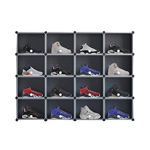 Equipo para el hogar Almacenamiento de zapatero portátil Gabinete de almacenamiento de zapatos de 16 cubos Organizador de caja de zapatos de plástico para armario Pasillo Dormitorio Entrada Zapater