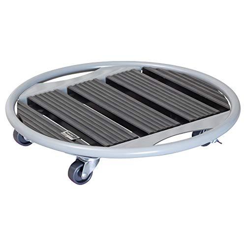 WAGNER Chariot de Plantes WPC Ø 38 x 10 cm | Porte Plante pour intérieur + extérieur | Support Roulant en Composite Bois-Plastique/métal, Anthracite, 2 Freins | Capacité de Charge 70 kg - 20707601