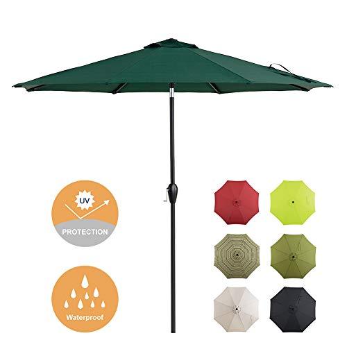 Tempera Patio Umbrella 9 Ft Outdoor Garden Table Umbrella with Push ButtonTilt and Crank 8 Ribs, Forest Green