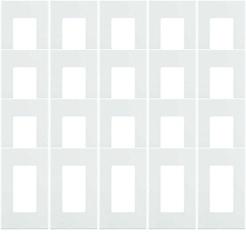 Leviton 80301-SW 1-Gang Decora Plus Wallplate Screwless Snap-On Mount, White, 20-Pack