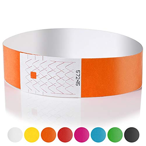 Amazy Einlassbänder (200 Stück | nummeriert) – Wasserfeste, bedruckbare Eintrittsbänder zur Kontrolle und Sicherheit bei Veranstaltungen und Events (Orange)
