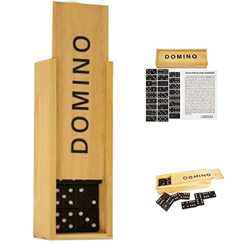 Classic Dominoes, 28 Pieces Retro Domino Game, Traditional Set in Wooden Case for Kids and Adults, Black and White, Educational Toy Gift, Travel Size (Dominoes in Wood Box)