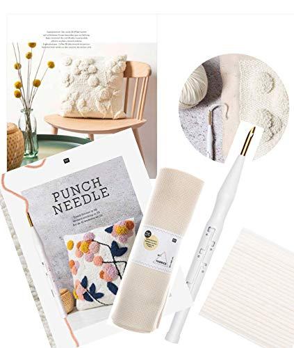 Rico Nadel Punch Set Kuscheltraum mit Wolle, Anleitungsbuch, Punchnadel und Stoff