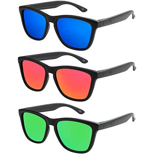 X-CRUZE - Pack de 3 gafas de sol polarizadas estilo Retro Vintage Unisex Caballero Dama Hombre Mujer Gafas - negro mate - Set G -