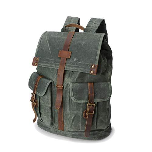 Wind Took Rucksack Daypack aus Canvas Leder Rucksäcke Vintage Retro Tagesrucksack für Uni Büro Alltag mit Laptopfach Wasserdicht 15,6 Zoll