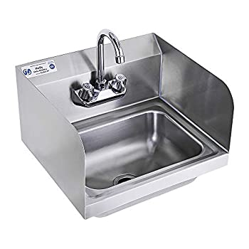 Stainless Steel Sink for Washing with Faucet and Side Splash NSF Commercial Wall Mount Hand Basin for Restaurant Kitchen and Home 17 x 15 Inches