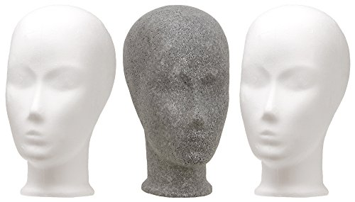 Styroporkopf Kind 3er Set (2 x weiß - 1 x grau)