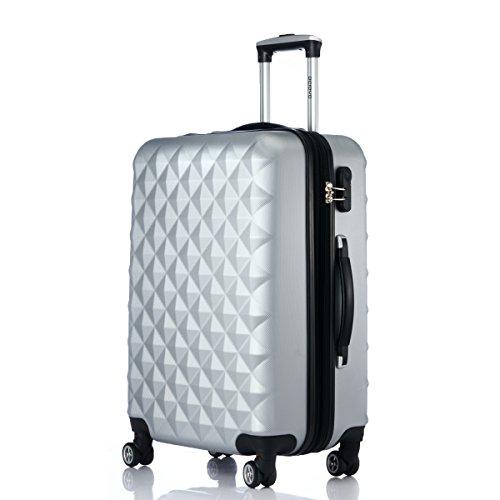 Rotelle per 2066Custodia rigida trolley valigia da viaggio bagaglio valigia da viaggio M, L, XL di set in 12colori, argento, XL