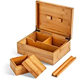 Keramello Stash Box, Rolling Tray and Inner Storage Box with Lid - Keepsake Box for Herbs, Crafts, Accessories and Tool - Smell Proof, Durable, Bamboo with Natural Finish Gift Box