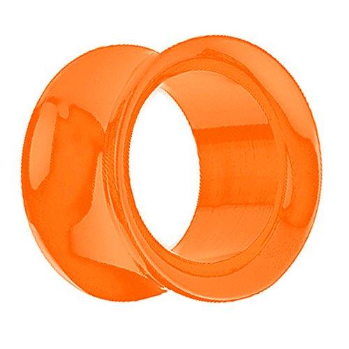 Piersando Piercing Flesh Tunnel Ohr Plug Schraub Double Flared Kunststoff Ohrpiercing Schmuck Schraubverschluss 5mm Orange
