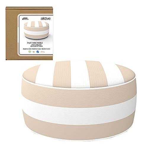 Aktive 79038 - Puff hinchable, Puff exterior, Reposapiés hinchable, Ø53x23 cm, diseño a rayas beige, Tejido impermeable, soporta 100 kg, mobiliario jardín exterior, Aktive