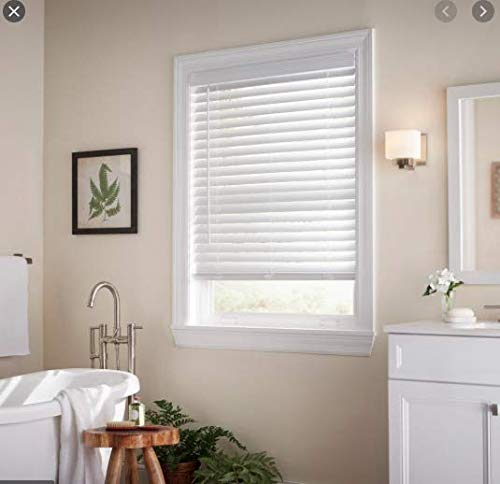 White Cordless 2 in. Faux Wood Blind - 41.5 in. W x 64 in. L (Actual Size 41 in. W x 64 in. L)