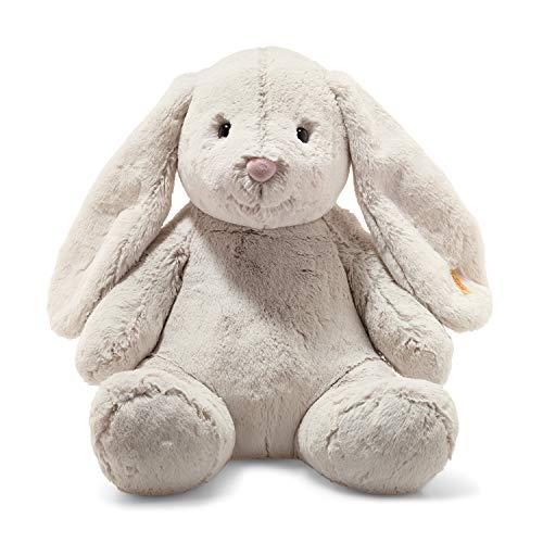 Steiff Hoppie Hase - 48 cm - Plüschhase mit Schlappohren - Kuscheltier für Kinder - Soft Cuddly Friends - beweglich & waschbar - hellgrau (080913)