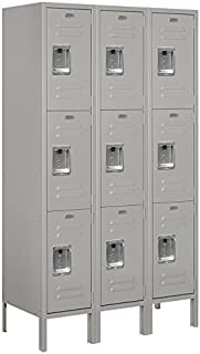 Standard Metal Locker Triple Tier 3 Feet Wide 5 Feet High 15 Inches Deep Unassembled, Gray