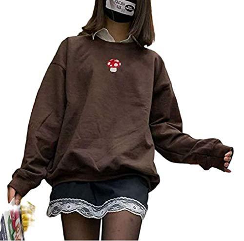 GuliriFe Damen Pilz Stickerei Pullover Sweatshirt Y2K Langarm Pullover Tunika Casual Rundhals Hoodie Tops 90S Streetwear (Braun, L)