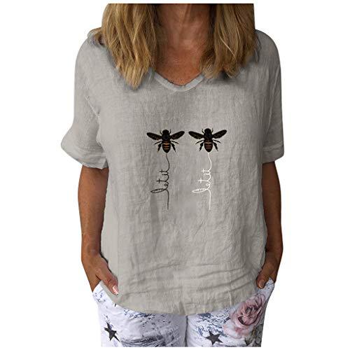 Masrin Damen Tops Lässig Kurzarm Honeybee Bedrucktes T-Shirt V-Ausschnitt Baumwolle Leinen Lose Tunika Bluse (XL,Grau)
