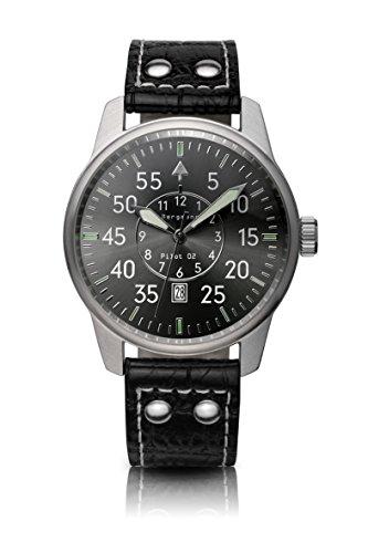 Original Bergmann-Uhr Pilot 02 Fliegeruhr Beobachtungsuhr Klassiker Quarz Leder Quarzuhr Edelstahlboden Bauhaus Modisch Elegant klassisch Design Zeitlos Unisex Direkt vom Hersteller