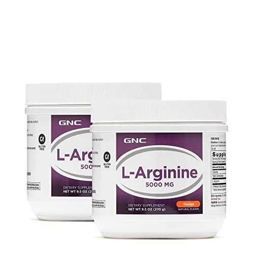 GNC L-Arginine 5000mg - Orange, Twin Pack, 30 Servings per Container, Increases Nitric Oxide Productioin