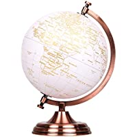 EXERZ 20cm Globo Dorado Color Metálico - en Inglés - Decoración Educativa, Geográfica, De Escritorio Moderna - Arco Y Base De Metal, Recubiertos En Color Dorado