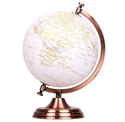 EXERZ 20cm Globo Dorado Color Metálico - Decoración Educativa, Geográfica, De Escritorio Moderna - Arco Y Base De Metal, Recubiertos En Color Dorado (Inglés)