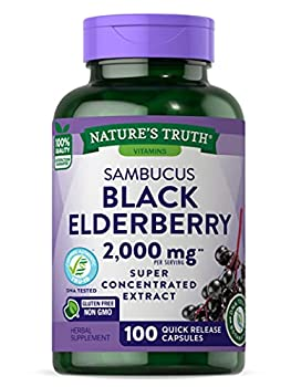 Black Elderberry Capsules 2000mg   100 Count   Super Concentrated Sambucus Extract   Non-GMO Gluten Free   by Nature s Truth