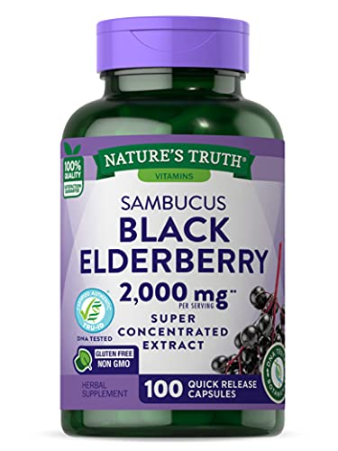 Black Elderberry Capsules 2000mg | 100 Count | Super Concentrated Sambucus Extract | Non-GMO, Gluten Free | by Nature's Truth
