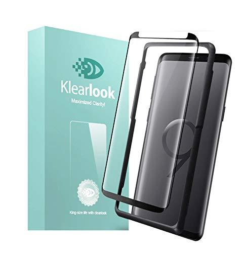 Klearlook kompatibel mit Panzerglas Schutzfolie kompatibel Galaxy S9,HD,Hülle Freundlich,9H Kratzfest,3D Gekrümmt,Kinderleicht Installation,1x Case Friendly Bildschirm Hartglas,1x Rückseite Kohlefaser