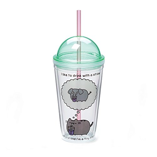 Enesco Gund Pusheen by Our Name is Mud Plastic Tumbler with Straw, 16 oz., Multicolor