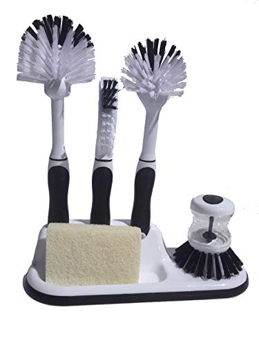 Kitchen Cleaning 5-Piece Set, Includes Storage Caddy and 3 Brushes for Scrubbing Dishes, Pots and Pans, Utensils. Bonus Palm Brush and Vegetable Peeler (Black)