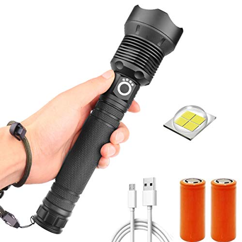 XHP70.2 Antorcha LED recargable, 20000 lúmenes Antorcha táctica súper brillante con zoom 3 modos Linterna de mano Antorchas impermeables con pantalla de energía para acampar