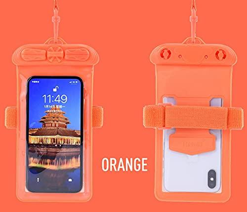 Teléfono móvil impermeable bolsa transparente buceo cubierta playa para natación bolsa corriente caliente primavera naranja
