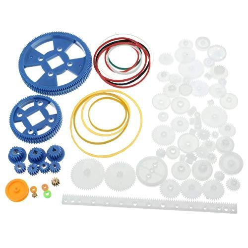 L-YINGZON Motor 80Pcs Plastic Robot Gear Kit Gear Box Motor Gear Set For DIY Car Robot,Solar Panel