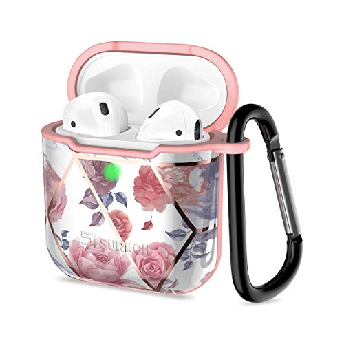 SURITCH for AirPods Case Hard ShockProof Protective Case Cover with Carabiner and Keychain Supports Wireless Charging Resistant Case Compatible with Airpods 1 and 2(ROSE, With Hook)
