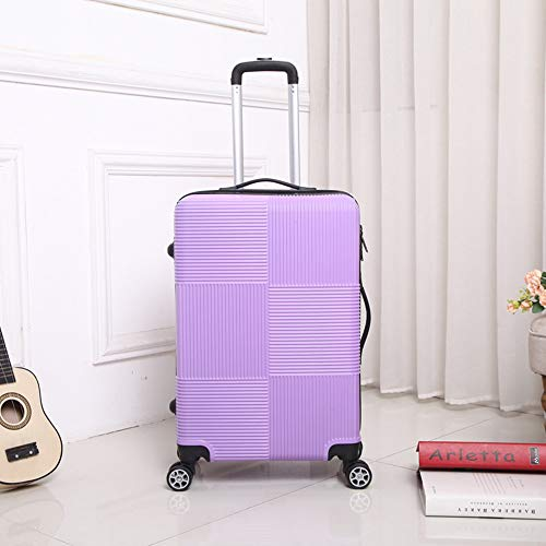 WANLN Cabina Valigia Leggera ABS Carry-on Bagaglio a Mano 4 Spinner Trolley Ruote,Viola,24inches