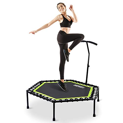OneTwoFit 48' Silent Mini Trampoline with Adjustable Handle Bar Fitness Trampoline Bungee Rebounder Jumping Cardio Trainer Workout for Adults or Kids OT064