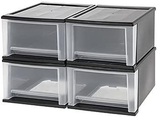 IRIS 17 Quart Stacking Drawer, 4 Pack, Black by