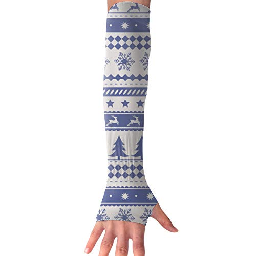 RZM YLY Unisex Nordic Style Christmas Pattern Arm Sleeves UV Sun Protective Fashion Tattoo Arm Gloves Long Sleeve Perfect for Football (1 Pair)