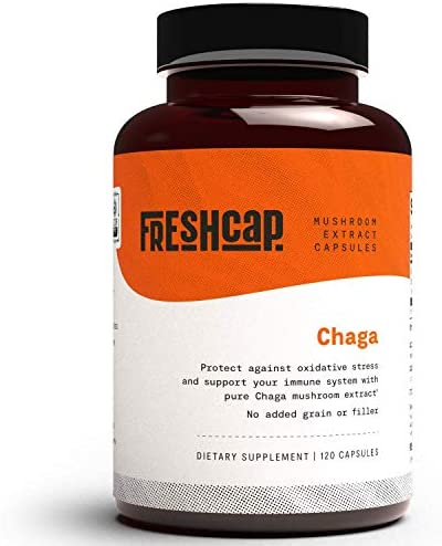 FreshCap Organic Chaga Extract 120 Capsules 60 Day Supply Dual Extracted Verified Levels of product image